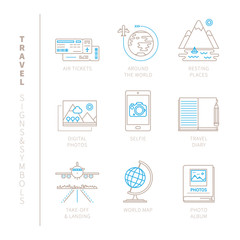 Set of vector travel icons and concepts in mono thin line style