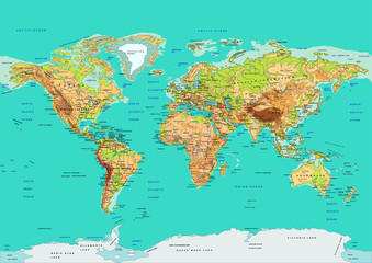 Map of the World, vector illustration. Names and borders on separate layer.