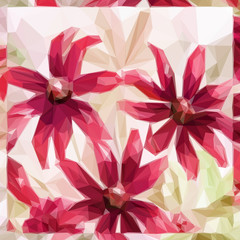 Flowers Bouquet, Polygonal Low Poly Colorful Pattern. Vector