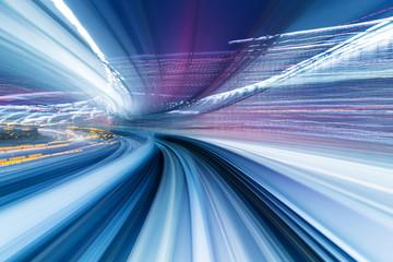 Speedy train moving in tunnel