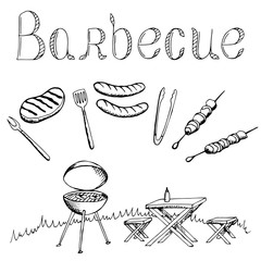 Barbecue graphic art black white isolated illustration vector