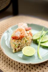 Thai fried rice with prawn.