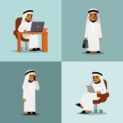 Saudi arabic businessman concept set