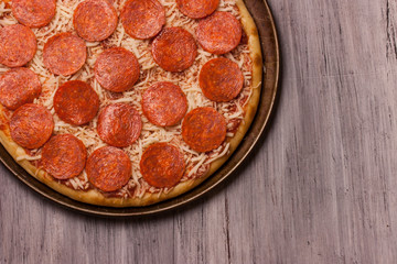 Pepperoni Pizza close up for backgrounds