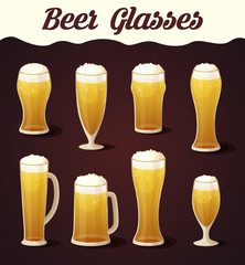 Beer glasses set. Beer glass isolated collection. Realistic Vector Glasses of Beer