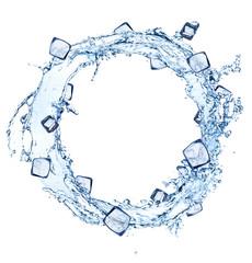 Water splash circle with ice cubes on white