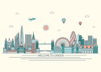 London detailed skyline. Vector background. line illustration. Line art style