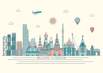 Moscow detailed skyline. Travel and tourism background. Vector line illustration. Line art style.