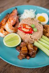 Shrimp paste fried rice, Thai food.