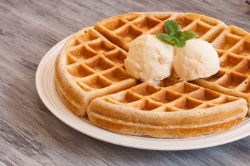 Waffle Breakfast with ice cream and maple syryp