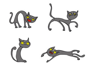 Halloween Cats vector pack, collection of cartoon vector graphic elements with Halloween motives. These vectors are perfect for Halloween greeting cards and invitations.