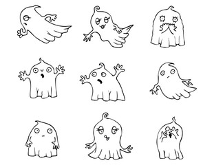 Halloween Ghost vector pack, collection of cartoon vector graphic elements with Halloween motives. These vectors are perfect for Halloween greeting cards and invitations.