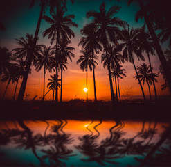 Silhouette coconut palm trees on beach and reflection at sunset. Vintage tone.