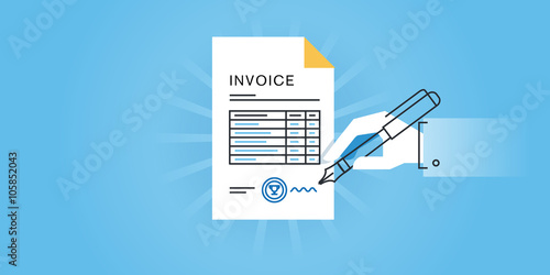 flat line design website banner for an invoice, online invoice, Invoice templates