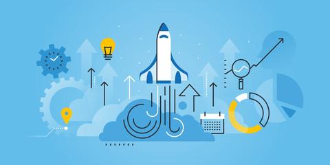 Flat line design website banner of business startup. Modern vector illustration for web design, marketing and print material.