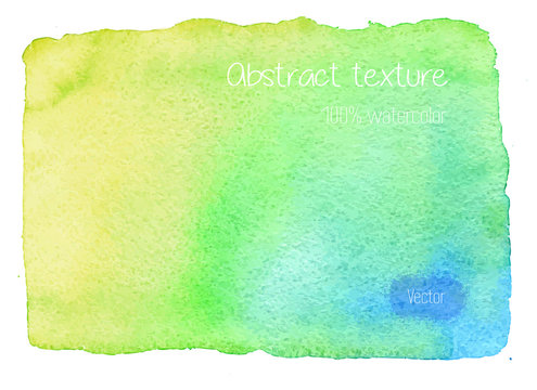 Real watercolor abstract, hand painted watercolor background, texture. Wet brush painted red, green and yellow vector illustration. Unique colorful vector graphic design template.