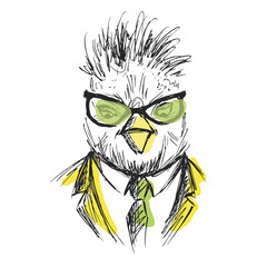 Hand Drawn Fashion Portrait of chicken Hipster isolated on white