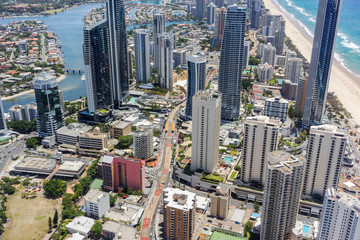 Panorama view of Surfers Paradise in Queensland