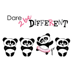 Be different, Cute Panda in various poses, hand drawing, vector