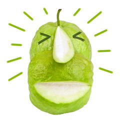 Funny fruit face slice green guava and drawing vector isolated on white background. Humor and happy character. Front view. Close up.