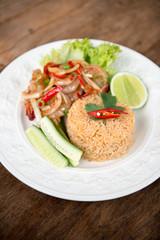 Spicy fried rice with prawn.