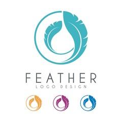 Feather Logo, Circle Design Vector Template