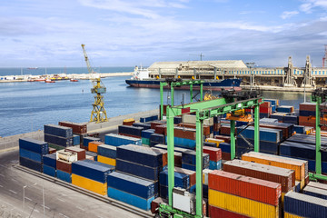 Container terminal in Casablanca sea port, Morocco
