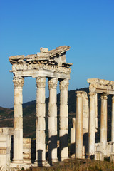 Antique city of Pergamon, Ruins of ancient Asclepion and Acropolis in Bergama, Izmir