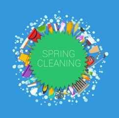 Spring cleaning round background. Set of cleaning supplies