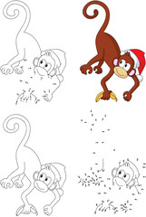 Cartoon Christmas monkey. Coloring book and dot to dot game for