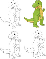 Cartoon tyrannosaur. Coloring book and dot to dot game for kids
