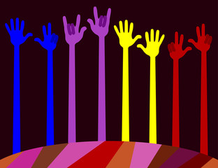 many different colored hands. palms raised up and bent fingers. vector illustration, editable to any size