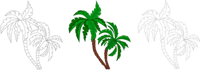 Cartoon palm tree. Dot to dot game for kids
