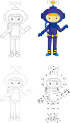 Cartoon astronaut. Dot to dot game for kids