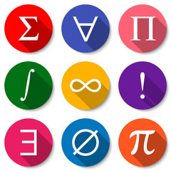 Mathematical Symbols. Set of colorful flat math icons with long shadows. Vector illustration
