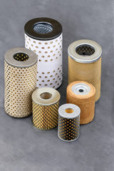 Oil filters for fine purification of motor oils/a group of various filters used in different machines for the fine filtration of engine oil