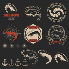 Set of shrimps meat labels.