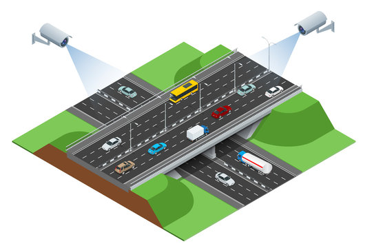 Security camera detects the movement of traffic. CCTV security camera on isometric of traffic jam with rush hour