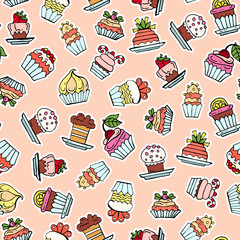 Vector seamless pattern with hand drawn colored cupcakes