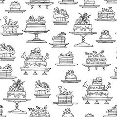 Vector seamless pattern with hand drawn isolated cakes on white color
