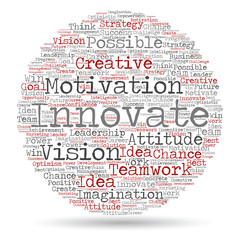Conceptual creative business word cloud isolated