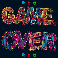 Game Over painted children's style pencil,