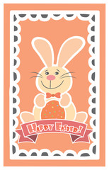 Easter Background with cute rabbit, colorful eggs and a chick