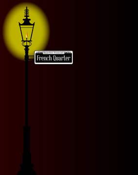 French Quarter Sign With Lamp