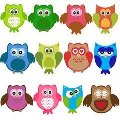 Vector set of colorful owls