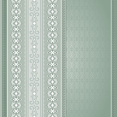 Filigree green seamless border on light green background.