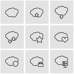 Vector line cloud icon set. Cloud Icon Object, Cloud Icon Picture, Cloud Icon Image - stock vector