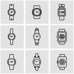 Vector line wristwatch icon set. Wristwatch Icon Object, Wristwatch Icon Picture, Wristwatch Icon Image - stock vector