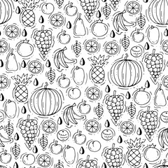 Vector seamless pattern with hand drawn isolated fruits on white color