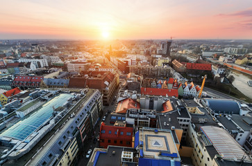 Panorama of the city skyline in the evening Wroclaw,